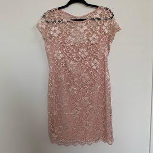 NWOT Metallic Pink Lace Dress!